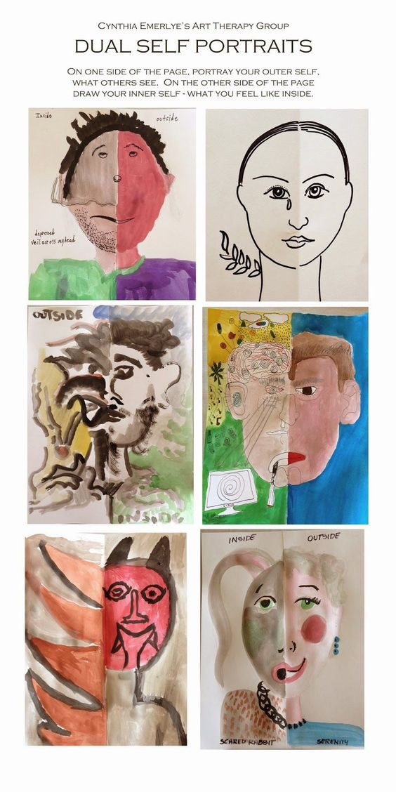 Half the page depicts one's outer self - what people see.  The other half is a portrait of one's inner self.  From www.emerlyearts.blogspot.ie