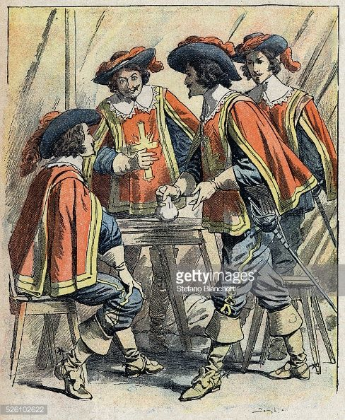 Early 20th-century illustration from The Three Musketeers by Alexandre Dumas, published in Journal des romans populaires illustres.
