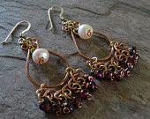 Jewelry Sale Bohemian Mixed Metal Garnet Pearl Dangle Earrings by MeridianStudio