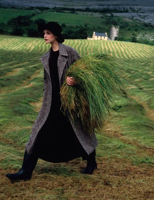 Nadja Auermann in Ireland. Vogue, 1993  Photo by Arthur Elgort