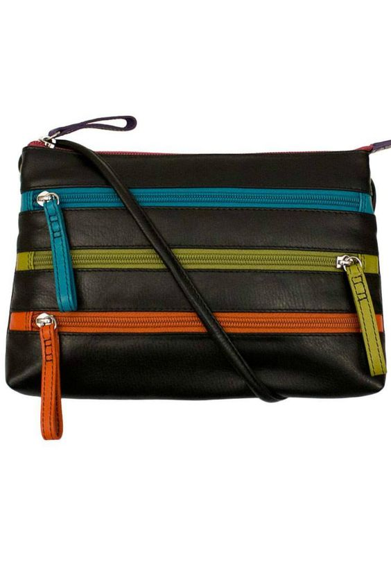"""iLi is about color and texture, fashion and function. iLi is about superior craftsmanship at uniquely affordable prices.  100% leather, adjustable shoulder/crossbody strap, top zipper and 3 front zip pockets, back zip pocket, inside zip pockets. 9"""" x 7"""" x 1.5""""                           Three-Zipper Crossbody by ili world. Bags - Cross Body Oregon"""