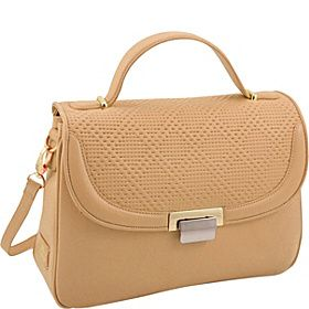 KORET new york Perforated Leather Half Flap Satchel - Camel - via eBags.com!