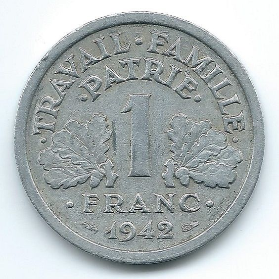 France 1 Franc 1942   https://ajunkeeshoppe.blogspot.com/
