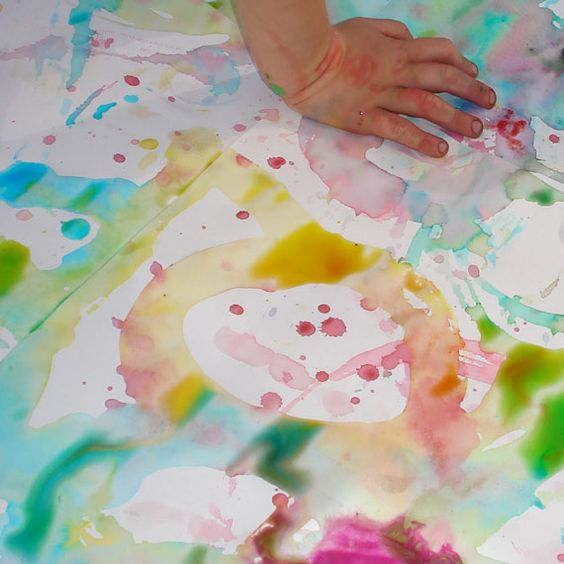 Paint with ice cubes.  Put food coloring in the tray with the water- this will be great outside this summer!