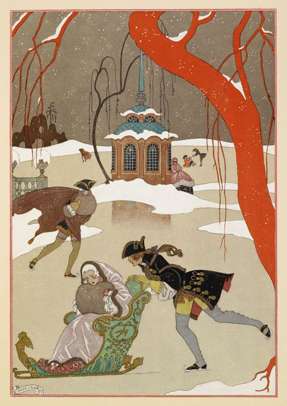 A lovely winter scene by George Barbier for today's