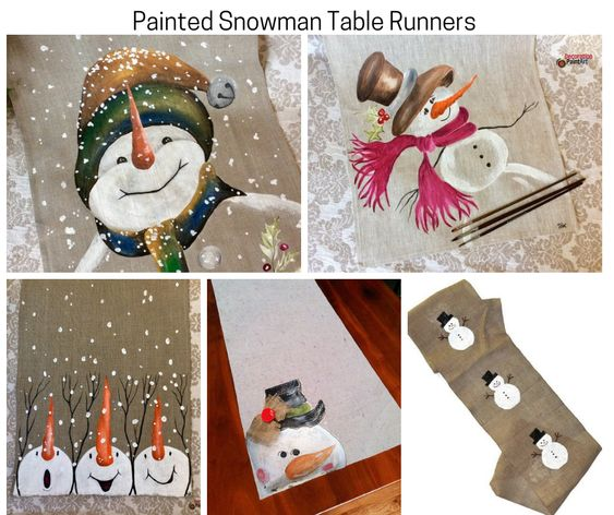 Painted Snowman Table Runners