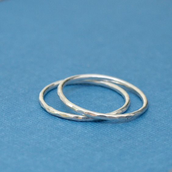 Silver Ring Bands Two Simple Hammered Silver by CatherineMarissa, $16.00