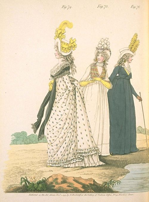 Gallery of Fashion, November 1795.  So much to love in this fashion plate!  First of all, the colors all go so well together.  Yellow and navy- swoon!  Amazing hats, beautiful print on the first gown, and do I spy yet another blue riding habit?  I think so!: