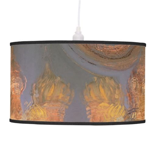 Expansion, Abstract Golden Shimmering City Dream Hanging Lamp $101