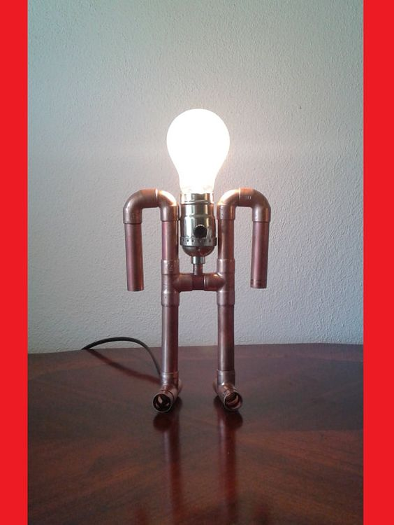 Copper pipe lamp the Ancient Astronaut by TonyLamps on Etsy