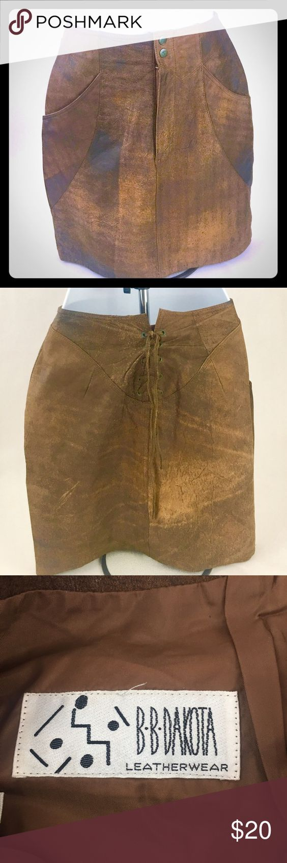 "BB Dakota Leatherware Brown Mini Skirt Size 5/6 This is a BB Dakota Brown Leather Mini Skirt with lace up detail in the back. This skirt is in great condition, great addition to your closet! Length 17"", Waist 12.5"", Hips 16.5"". Thanks for shopping my closet! BB Dakota Skirts Mini"