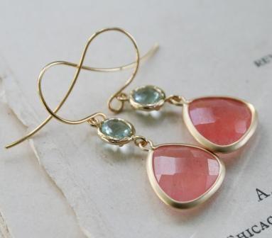 The Emma Earrings-Earrings, dangle, aqua, salmon, simple, feminine, 14kt. gold, gold vermeil, wholesale, tippy stockton