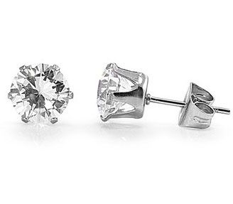 Featuring a stunning set of 4mm 0.75 carat Round brilliant cut stud earrings. These high grade simulated Diamond earrings are beautifully prong-set by hand, which allows light to come in from all angles to create a beautiful shimmering shine. Each setting is made of genuine 316l Surgical Stainless Steel which is the highest grade of stainless steel used in the jewelry Industry today.