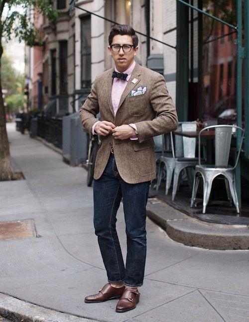 Tan herringbone sport coat pink shirt navy bow tie dark wash