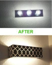 """Do you have one of these ugly """"Hollywood style"""" lights in your bathroom?  Cover it with a Custom Vanity Shade from Vanity Shades of Vegas"""