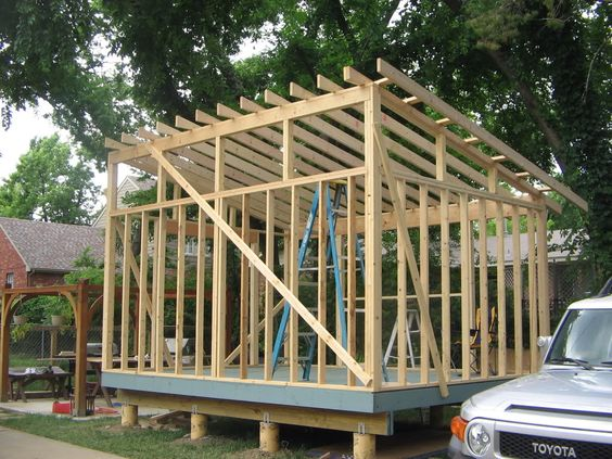 Shed style roof with clerestory windows for the garage for Sloped roof shed