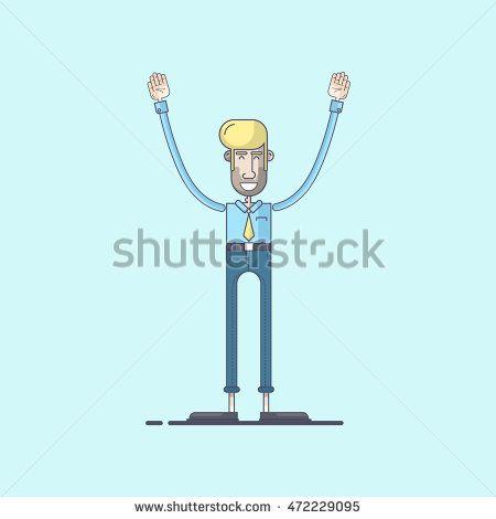 Business man cartoon character. Vector illustration using flat design
