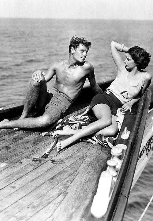 Joel McCrea and a woman friend taking a cruise, 1930s