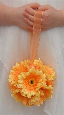 Light Orange Wedding Pomander In Silk Gerberas - Sarah's Flowers Ltd