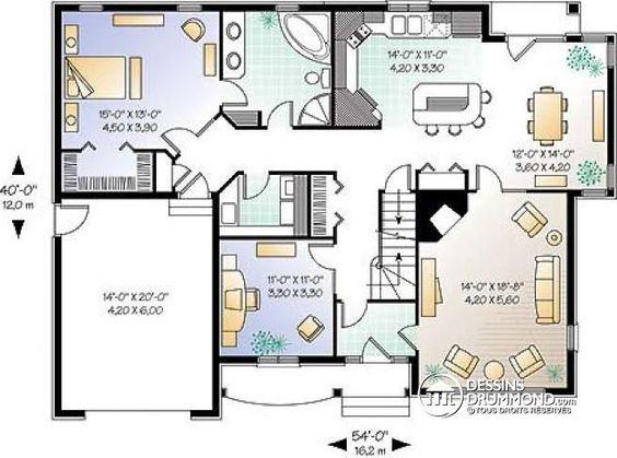W2605 superbe maison tage avec 3 4 chambres ou for Plan maison etage 4 chambres 1 bureau
