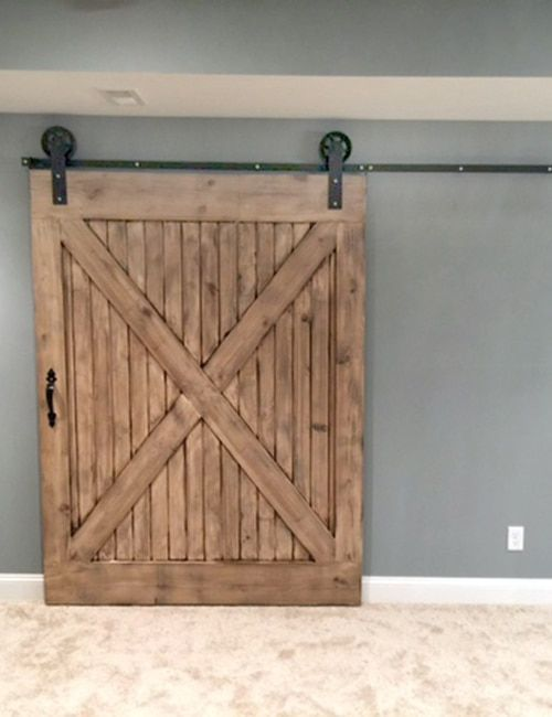 Double Door Single Track Bypass C Sliding Barn Door Hardware Kit Use 2 Doors Not Included On 1 Track Powdercoated Black Barn Door Handles Sliding Barn Door Hardware Interior Sliding Barn Doors