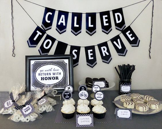 LDS Mission Farewell Party Printable Set: Missionary Party Kit Downloads - Classic Black & White Designs - Banner, Decorations, Cupcake Toppers, Favor Tags, Welcome Sign, Advice & Wishes, Invitations, Food Labels...