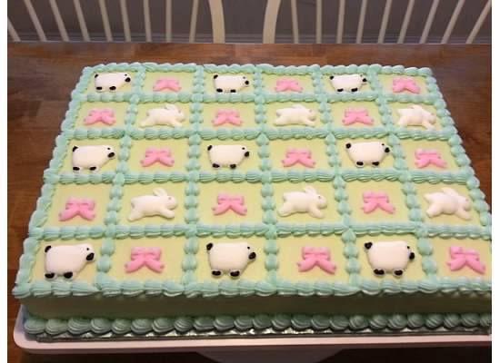 Fondant Decor On Buttercream Cake : Baby Shower Sheet Cake - 1/2 Sheet cake with vanilla ...