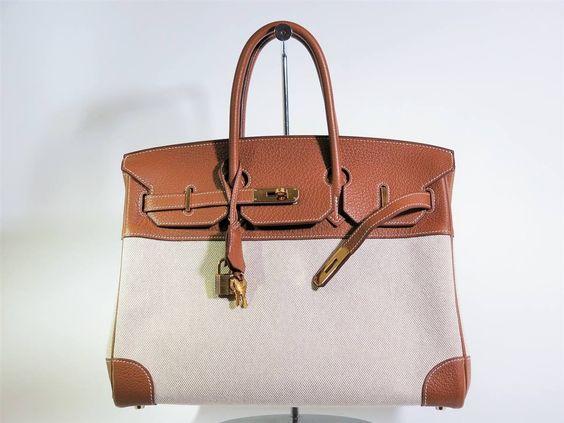 original hermes bags - Sac Herm��s Birkin cuir et toile avec son dustbag, ann��e M. Prix d ...