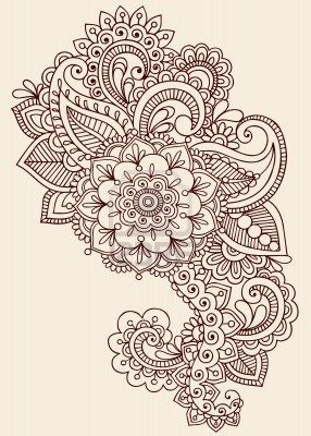 Henna Paisley Flowers Mehndi Tattoo Doodles Design- Abstract Floral--- i think im goin to use this design to start my sleeve and  add random roses to it