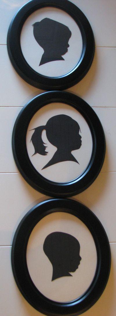 Silhouettes - Profil Foto, Ausdrucken, Ausschneiden, übertragen auf schwarzes Papier, ausschneiden
