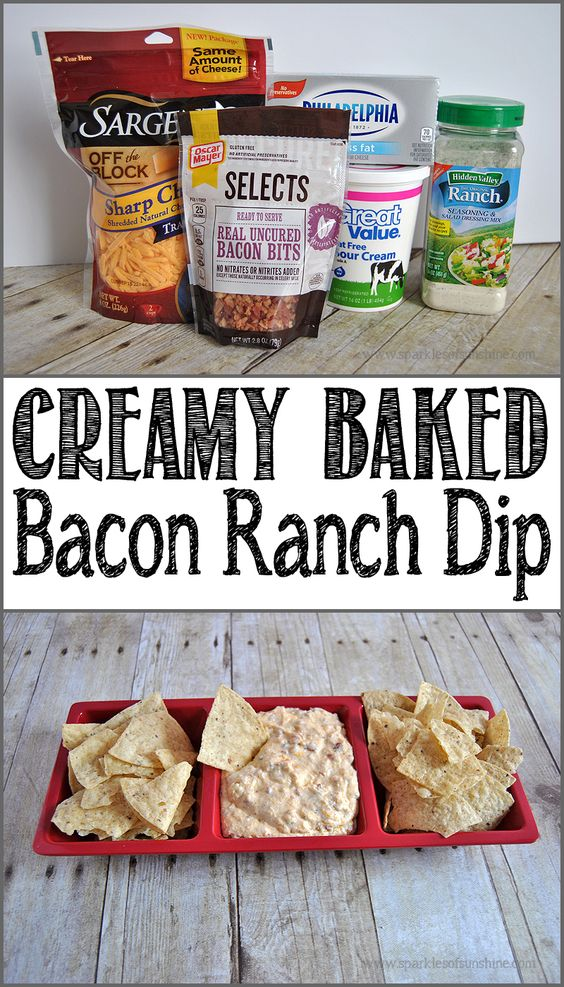 Get this tasty, loaded with flavor, Creamy Baked Bacon Ranch Dip recipe today at Sparkles of Sunshine.
