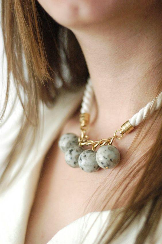 Cuerda collar N4 Kiwi jaspe collar collar de piedras por oliki