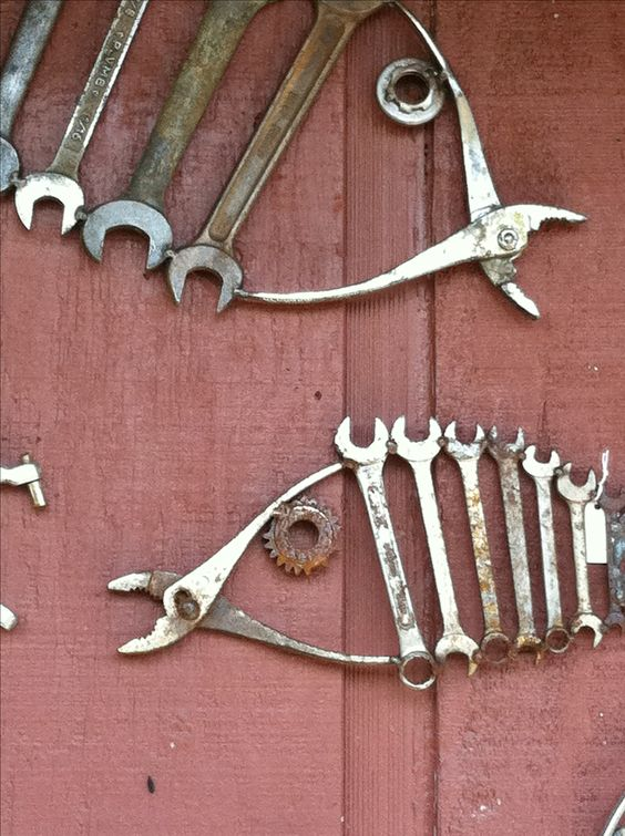 Salvaged repurposed old tools into fish wrenches for Wall fishing tools