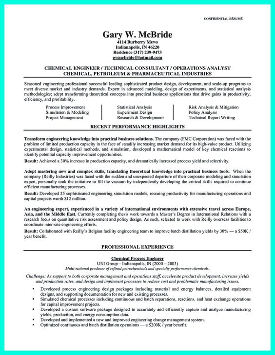 resume samples for chmemical engg - Google Search aishwary - process engineer resume