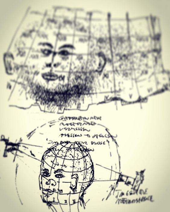 Pathfinder. Skizze.  Markus Wintersberger 1994  #erinnerung #1991 #portrait #skizze #installation #bodyframes #bodybox #pathfinder #zeichnung #drawing #inbetween #markuswintersberger #universityofappliedartsvienna #dieangewandte #universitätfürangewandtekunst #vienna #austria #medienwerkstatt006