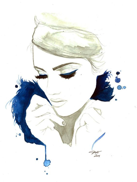 Blue For You, impression de création mode originale aquarelle et techniques mixtes par Jessica Durrant
