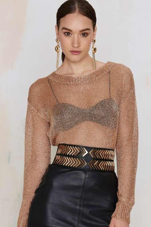 Glamorous ouro Mova camisola Metálico - Novidades