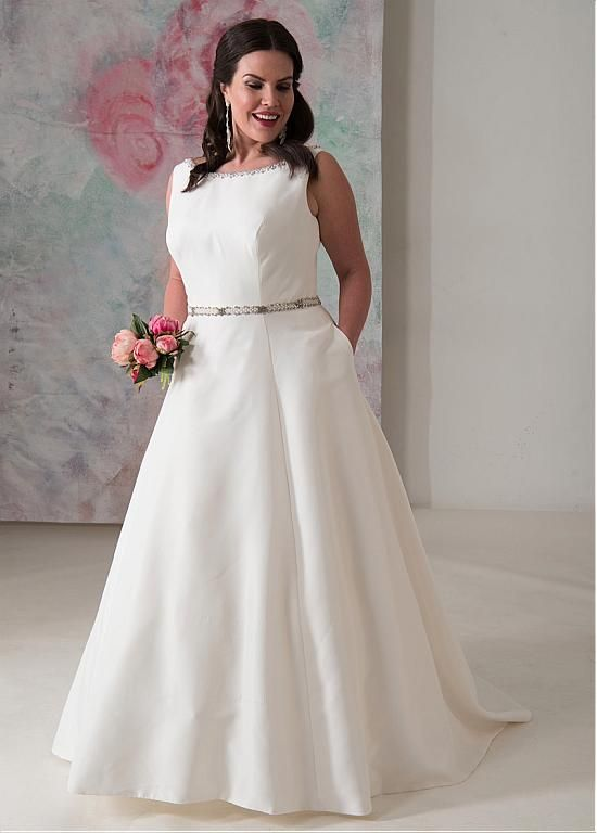Magbridal Delicate Satin Bateau Neckline A Line Plus Size Wedding