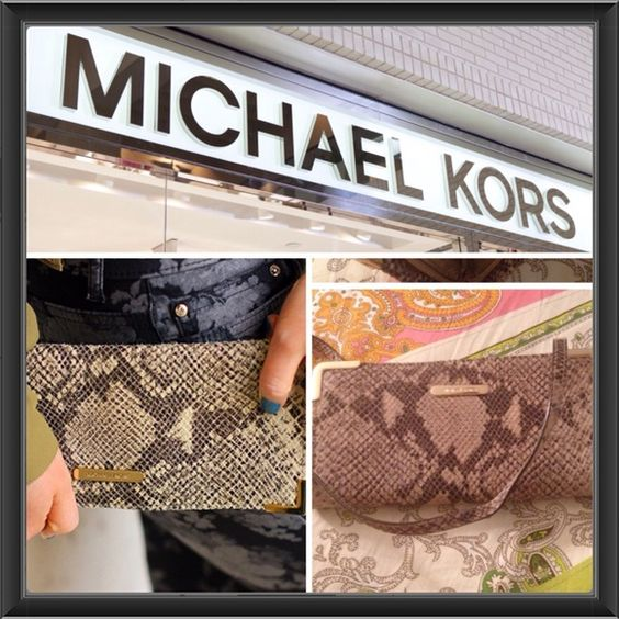 HPAuthentic snake print mk clutch Nwot never used zip around with strap no wallet needed has card slots inside Michael Kors Bags Clutches & Wristlets