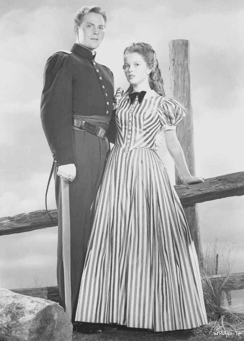 John Agar and Shirley Temple in Fort Apache, 1948.