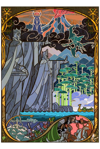 """""""Gates of Argonath"""" illustration in stained-glass/mural style by *breathing2004 on deviantART 12x18 print $15.99"""