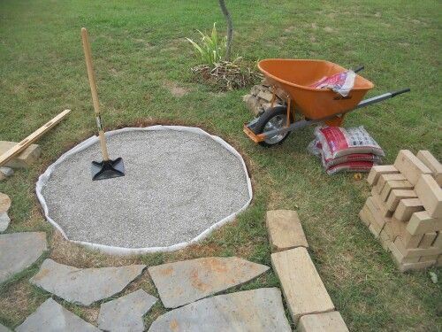 Fire pit 4 dig a hole put sand next crush gravel for Gravel around fire pit