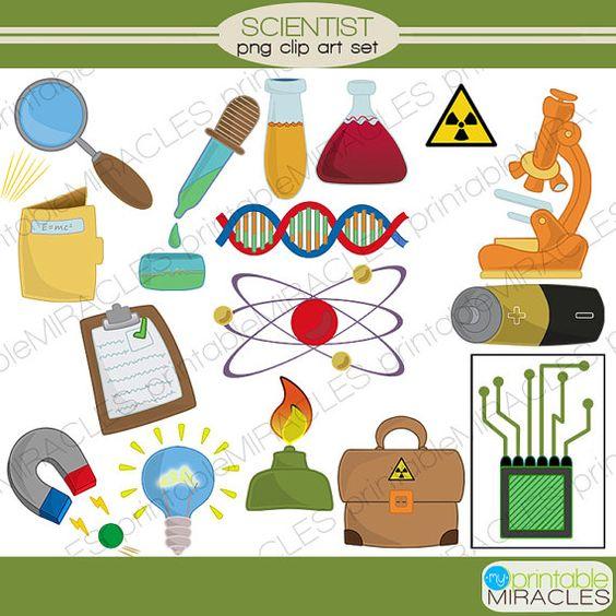 Mad scientist Clipart, Chemistry digital clip art set, Science ...