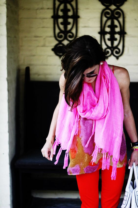 hot pink scarf with red pants