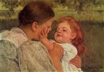 Mary Cassatt. Maternal Caress, 1896. American Painter and Print Maker. She mainly depicted the private lives of women and focused on the bonds between mothers and their children.
