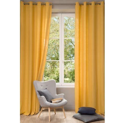 rideaux lin rideau jaune
