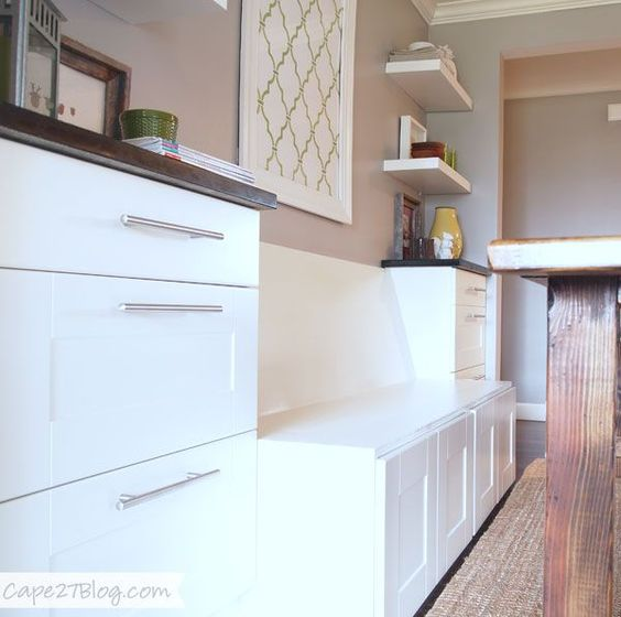 Diy banquette seat cabinets built ins and ikea cabinets - Built in banquette dining sets ...
