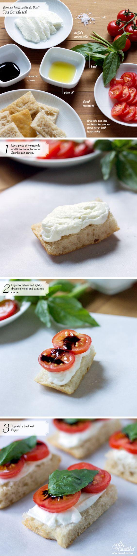 Tomato, Mozzarella, & Basil Tea Sandwich | Tea Sandwiches, Tomato ...