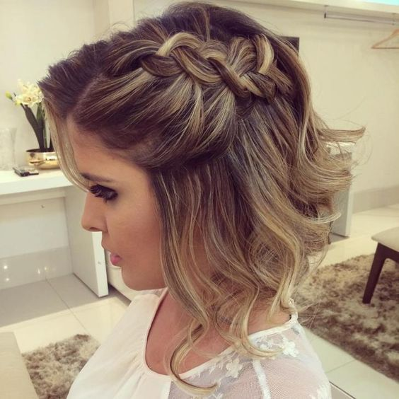 Wonderful 40 Braids Wedding Hairstyles For Short Hair Weddinghairstyles Prom Hairstyles For Short Hair Short Wedding Hair Short Hair Updo