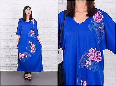 Vintage 70s Blue Hippie Boho Dress Kimono Sleeve Asian Floral Print XL